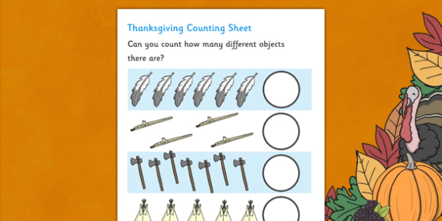Thanksgiving Counting Sheet - thanksgiving, counting sheet, counting, counting on, counting back, maths, numeracy, foundation numeracy, turkey, harvest celebrations, autumn, united states, usa, canada, holiday, reformation