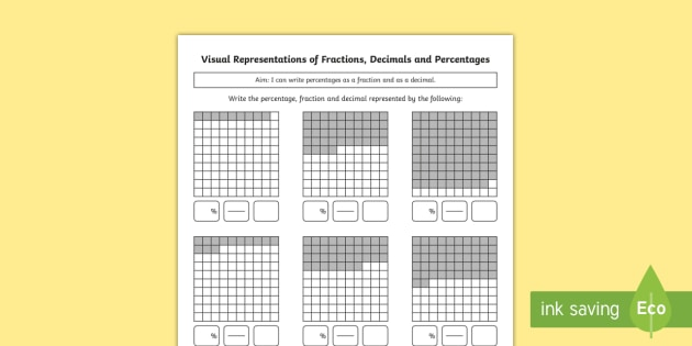 Year 5 Visual Representations of Fractions Decimals and Percentages Differentiated Activity Sheets - Y5, Year 5, decimals, fractions, percentages, visual representations