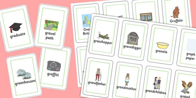 Three Syllable GR Playing Cards - sen, sound, gr sound, gr, three syllable, playing cards