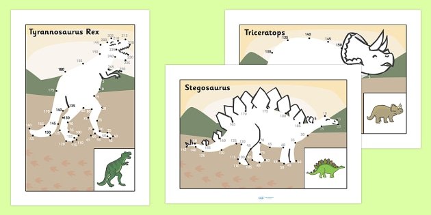 Counting in 5s Dot to Dot Sheets Dinosaurs - count, counting aid