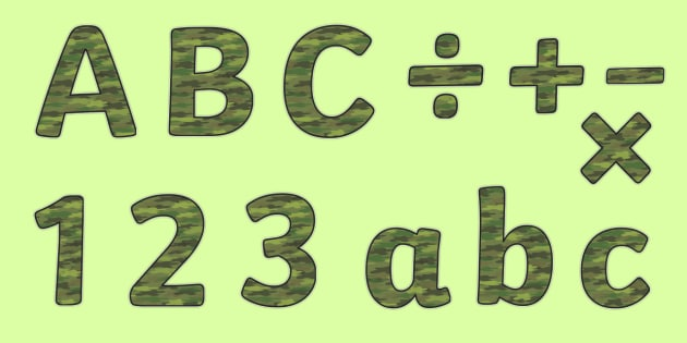 Camouflage Display Lettering - camouflage lettering, camouflage display letters, camouflage letters, camouflage alphabet, camouflage, camouflage theme