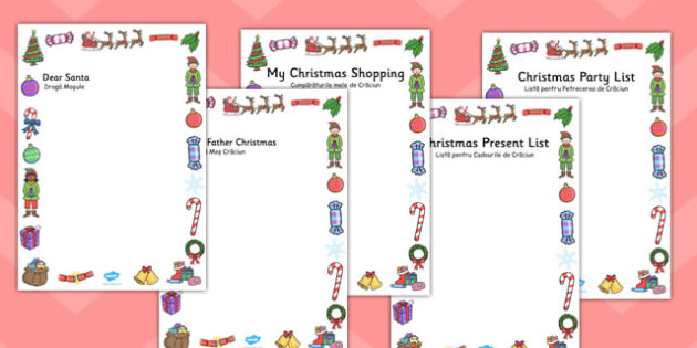 Christmas Role Play Writing Borders Romanian Translation - early years, ks1, key stage 1, display, showcase, independent, list, santa, father, good, bad, wish,