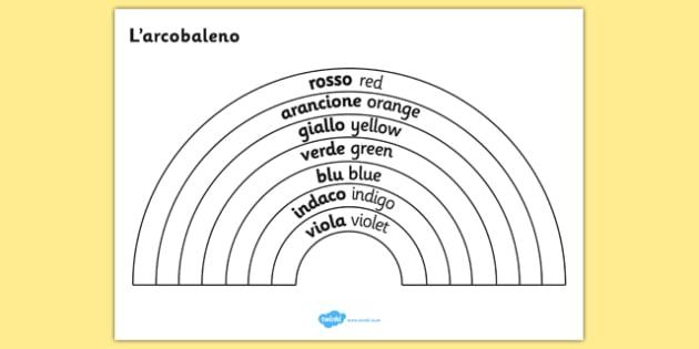 Rainbow Colours Italian Translation Colouring Sheet - colouring