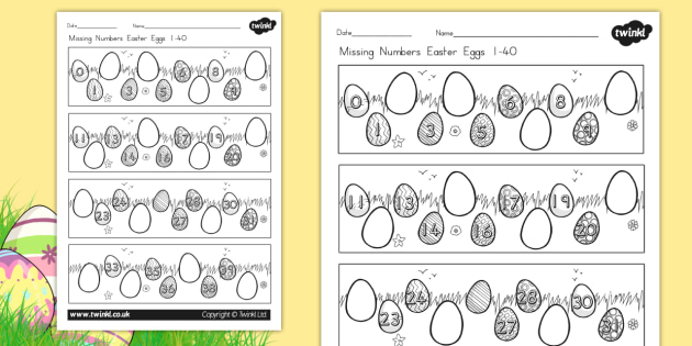 Missing Numbers Easter Eggs Worksheet 0 40 - counting, easter