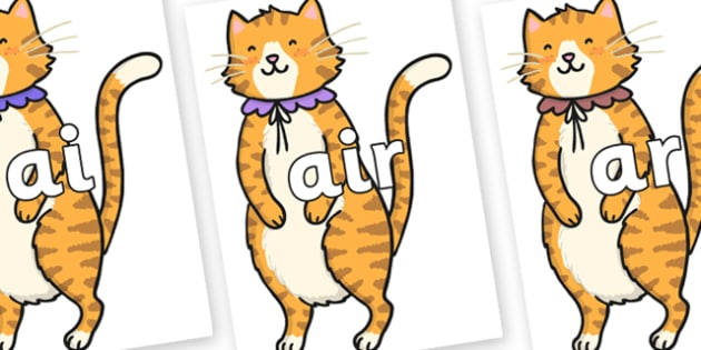 Phase 3 Phonemes on Pussycat - Phonemes, phoneme, Phase 3, Phase three, Foundation, Literacy, Letters and Sounds, DfES, display