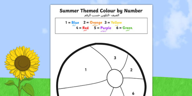 SummerThemed Colour by Number Arabic Translation - arabic, seasons, counting aid, numbers