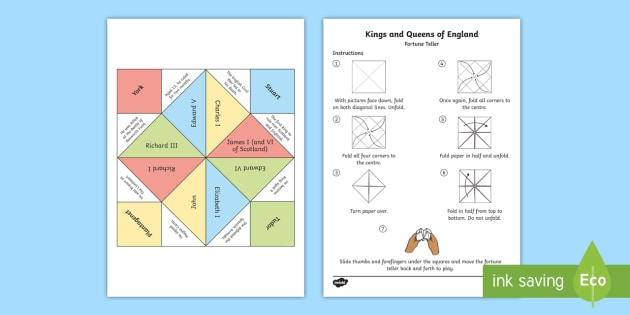 KS2 Kings and Queens of England Fortune Teller Chatterbox