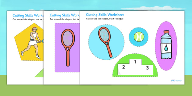 Wimbledon Themed Cutting Skills Worksheet - tennis, sports, pe
