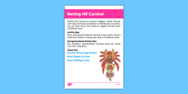 Elderly Care Calendar Planning August 2016 Notting Hill Carnival - Elderly Care, Calendar Planning, Care Homes, Activity Co-ordinators, Support, August 2016