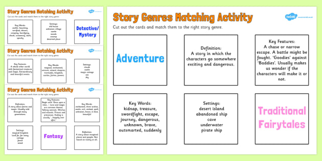 Story Genres Matching Activity - story, genres, matching activity