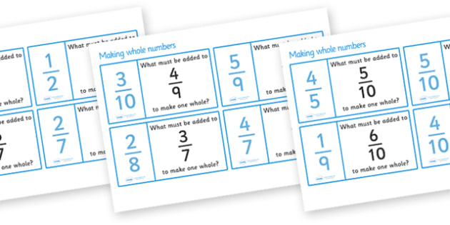 Making Whole Numbers From Fractions Loop Cards - making whole numbers from fractions, fraction, fractions, decimal, whole number, percentage, one whole, half, third, quarter, fifth, proportion, part, numerator, denominator, equivalent, 1/3, 1/2, 1/4