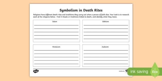 World Religion Death Rites Fact File Worksheet