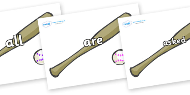 Tricky Words on Bat and Ball - Tricky words, DfES Letters and Sounds, Letters and sounds, display, words
