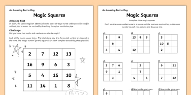 Magic Squares Activity Sheet, worksheet