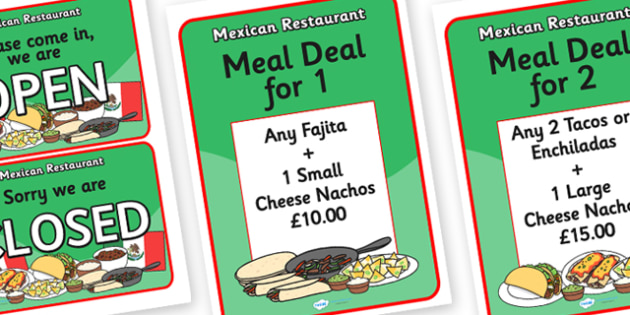 Mexican Restaurant Role Play Signs - mexican, restaurant, mexican restaurant, role play, role play signs, signs, signs for role play, role play props, prop