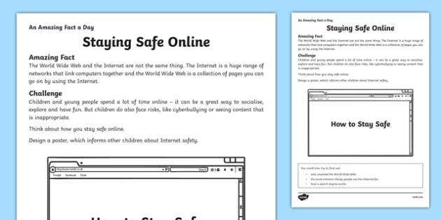 Staying Safe Online Activity Sheet - amazing fact a day, activity, activities, safe, online, worksheet