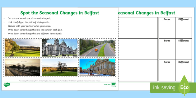 Spot the Seasonal Changes in Belfast Writing Activity Sheet