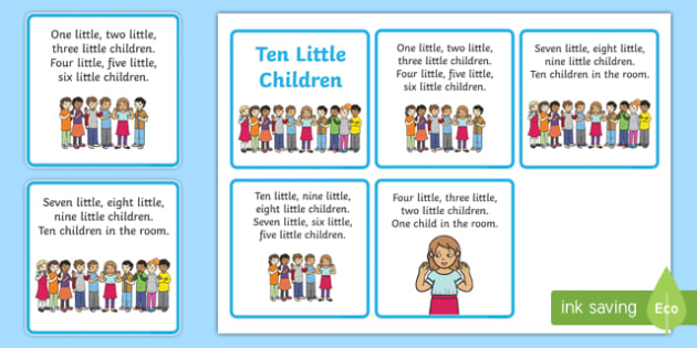 Ten Little Children Counting Song Sequencing - Ten, Little, Song