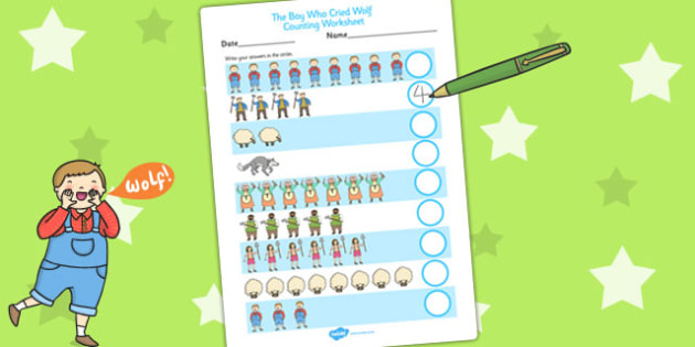 The Boy Who Cried Wolf Counting Sheet - aesops fables, count