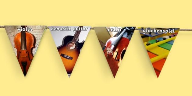 Musical Instruments Photo Display Bunting - musical instrument photos, music bunting, music photo bunting, music display bunting, musical instruments