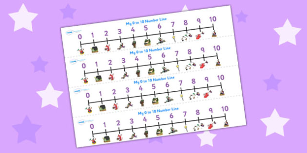 Number Lines 0-10 to Support Teaching on Room on the Broom - room on the broom, number line, 0-10, 0-10 number line, number tracks, number strips, themed number line