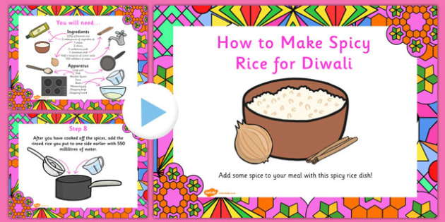 Spicy Rice Diwali Recipe PowerPoint - cooking, cook, recipes