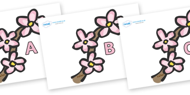 A-Z Alphabet on Spring Blossom - A-Z, A4, display, Alphabet frieze, Display letters, Letter posters, A-Z letters, Alphabet flashcards