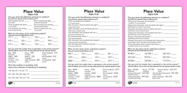 Place Value Worksheet Polish Translation - polish, place value worksheets, place value, converting numbers, converting words to numbers, ks2 numeracy worksheets