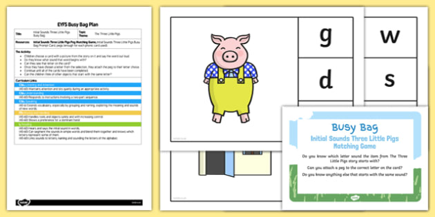 EYFS Phonic Three Little Pigs Busy Bag Plan and Resource Pack