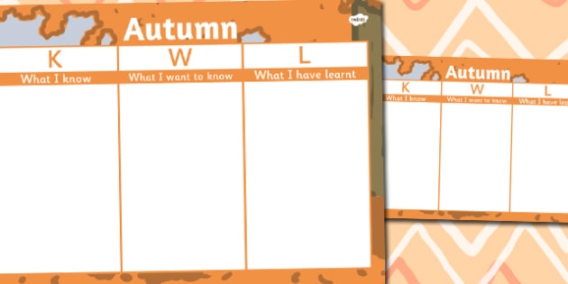Autumn Topic KWL Grid - autumn, kwl, grid, know, learn, want
