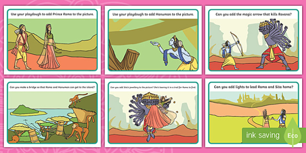 Diwali Rama and Sita Story Playdough Mats, diwali story for early years