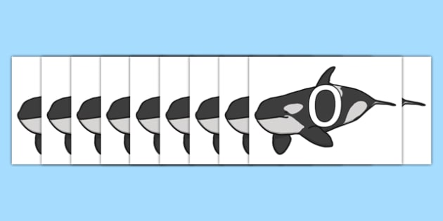 Numbers 0-31 on Whales - 0-30, foundation stage numeracy, Number recognition, Number flashcards, counting, number frieze, Display numbers, number posters