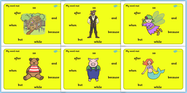 Conjunctions Word Mat For Visually Impaired - Connectives, Word