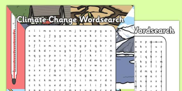 Climate Change Wordsearch - climate change, wordsearch, climate, change, science
