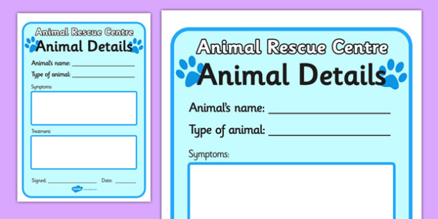 Animal Rescue Pet Details Form - animal rescue, pet details form, details form, form, details