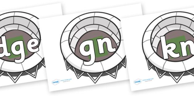 Silent Letters on Stadiums - Silent Letters, silent letter, letter blend, consonant, consonants, digraph, trigraph, A-Z letters, literacy, alphabet, letters, alternative sounds