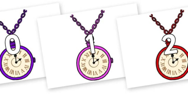 Numbers 0-31 on Pocket Watches - 0-31, foundation stage numeracy, Number recognition, Number flashcards, counting, number frieze, Display numbers, number posters