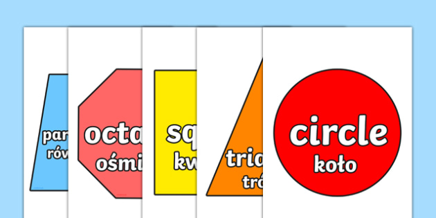 2D Shapes Display Cut-Outs Polish Translation-Polish-translation