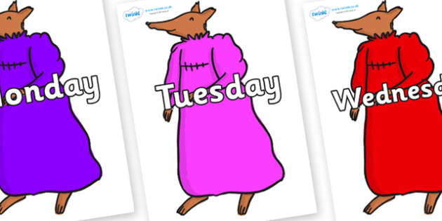 Days of the Week on Mrs Fox to Support Teaching on Fantastic Mr Fox - Days of the Week, Weeks poster, week, display, poster, frieze, Days, Day, Monday, Tuesday, Wednesday, Thursday, Friday, Saturday, Sunday