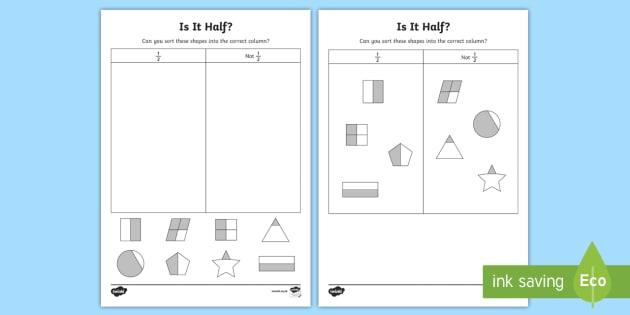 Is It Half? Activity Sheet, worksheet