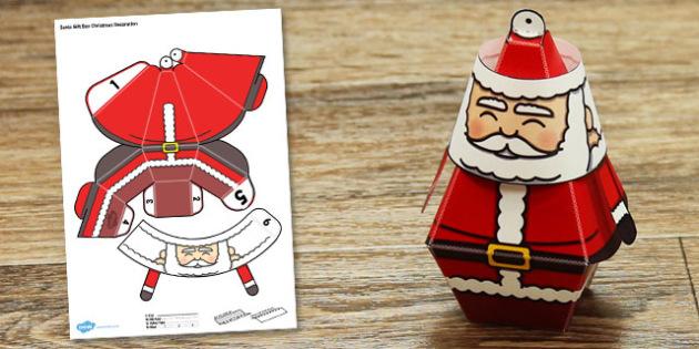 Santa Gift Box Christmas Decoration - santa, gift box, christmas, decoration, craft, paper