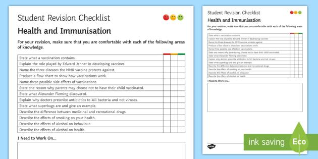 Health and Immunisation Student Revision Checklist - Student Progress Sheet (KS3), health, immunisation, vaccination, MMR, Edward Jenner