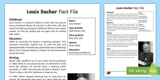 Louis Sachar Fact File