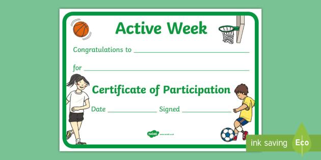 Active Week Certificate - Twinkl Teacher Requests, Active Week, PE, sports, sport, certificate