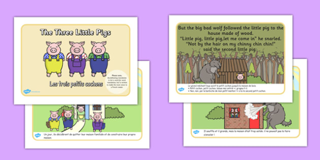 The Three Little Pigs Story French Translation - french, Three little pigs, traditional tales, tale, fairy tale, pigs, wolf, straw house, wood house, brick house, huff and puff, chinny chin chin