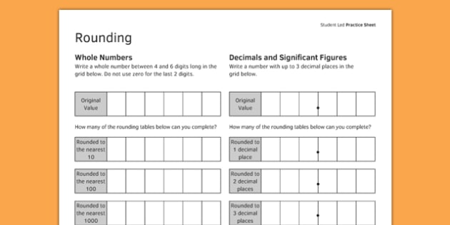 KS3_KS4 Maths Student Led Practice Sheets Rounding - maths, KS3, KS4, GCSE, worksheet, practise, independent, growth mindset, rounding, integers, whole numbers, decimals, significant figures, approximation,