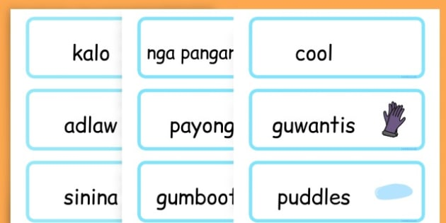 Winter Word Cards - seasons, weather, key words, visual aids  - Cebuano