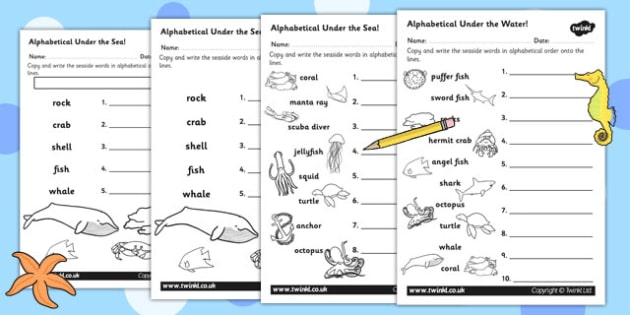 Under the Sea Differentiated Alphabet Ordering Worksheet - order