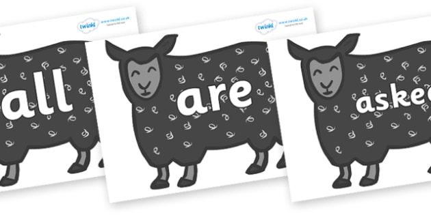 Tricky Words on Black Sheep to Support Teaching on Brown Bear, Brown Bear - Tricky words, DfES Letters and Sounds, Letters and sounds, display, words