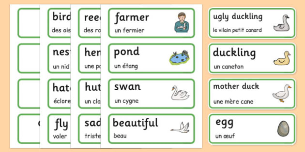 The Ugly Duckling Word Cards French Translation - french, The Ugly Duckling, Hans Christian Andersen, Andersen, fairy tale, word cards, cards, flashcards, Danish, bird, barnyard, swan, beautiful, ugly, transformation, tale, story, reading